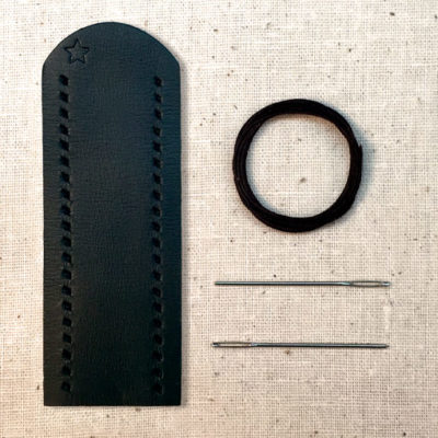 Black leather lever wrap with baseball stitch