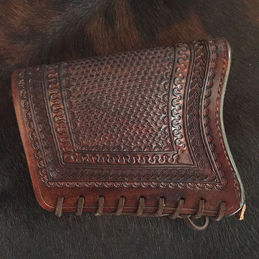 Cowboy leather stock cover shown in medium brown